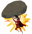 comic super girl throwing big rock vector image