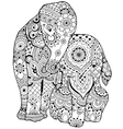 elephant with ornament vector image