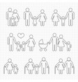 human family line icons on notebook page design vector image