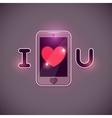 I love u inscription with smartphone icon vector image