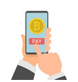 online bitcoin payment concept businessman vector image