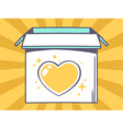open box with icon of heart on yellow pa vector image