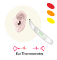 Patient with Ear Thermometer on White Background vector image