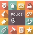 police icons set with shadow vector image