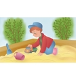 The child is played in a sandbox vector image