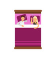 young family couple sleeping on the bed view from vector image
