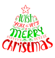 Silhouette of lettering Christmas tree with decor vector image