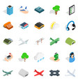Arrival icons set isometric style vector image