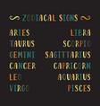 zodiac signs names vector image