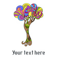 Cute card with doodle colorful tree vector image