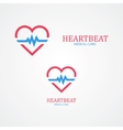 Logo combination of a heart and pulse vector image