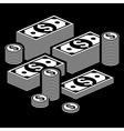 Piles of money on dark vector image