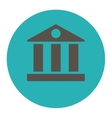 Bank flat grey and cyan colors round button vector image