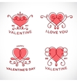 Graceful Floral Valentine Line Style Heart Set vector image