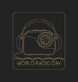 Mono line logo World Radio Day vector image