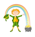 Saint Patricks Day Leprechaun with pot of gold vector image