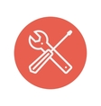 Screw driver and wrench tools thin line icon vector image