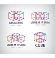 set of cube construction logos icons vector image