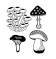 set of doodle mushrooms vector image