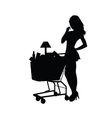 woman shopping silhouette vector image