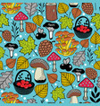 bright seamless pattern with autumn forest gifts vector image vector image