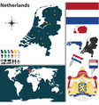 Netherlands map world vector image