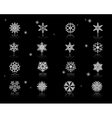 Set of White Snowflakes Icons vector image