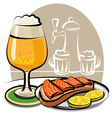 beer and sandwich with salmon vector image