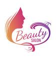 beautiful female face portrait - beauty salon vector image