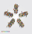 Large group of people in modern star shape vector image