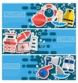 Set of Horizontal Banners about lifeguard vector image