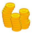 stacks of coins with crown icon cartoon style vector image