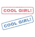 cool girl exclamation textile stamps vector image
