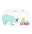 polar bear new year christmas gifts presents boxes vector image
