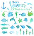 set of watercolor marine life vector image