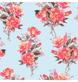 Summer Seamless Watercolor Pattern with Red Roses vector image