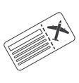 Airline ticket pass airplane thin line vector image