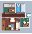 Apartment floor plan with furniture vector image