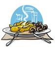 boiled potatoes and mushrooms vector image