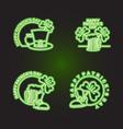 Set logo Patricks day Neon sign shines in dark vector image