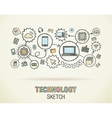 Technology hand draw integrate icons set on paper vector image