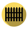fence simple sign  flat black icon with vector image