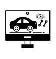 contour computer with service car elements vector image