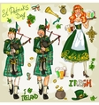 St Patricks Day - hand drawn clip art collection vector image