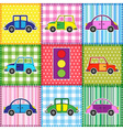 Patchwork with cartoon cars vector image vector image