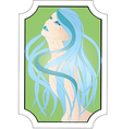 beautiful girl with long blue hair vector image