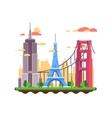 Famous landmarks flat design vector image