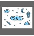 Greeting card with sleeping fox moon stars and vector image