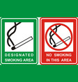 no smoking and smoking area sign set vector image