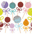 seamless pattern colorful sweet cake pops set with vector image